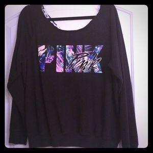 Pink sweatshirt loose neck or shoulder